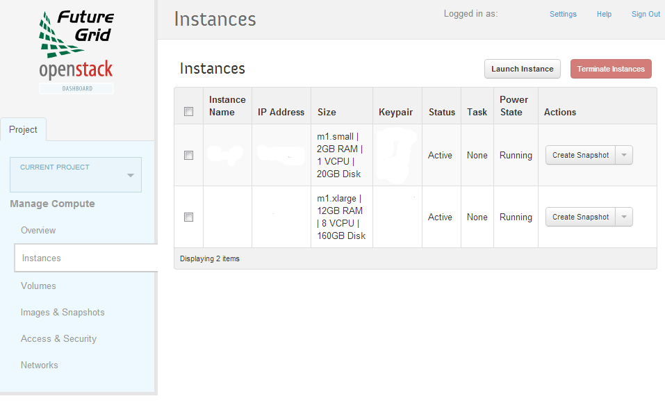 Instances page of the OpenStack installation on Alamo