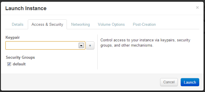 Access and Security tab when launching instances with OpenStack on Alamo