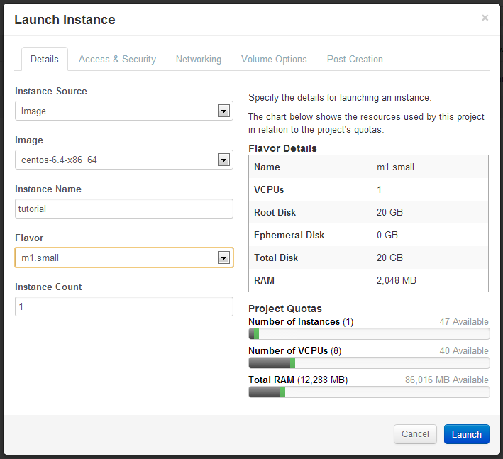Details tab when launching an instance with OpenStack on Alamo